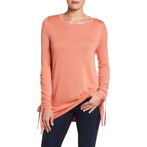 Halogen • Coral Ruched Sleeve Crew Neck Sweater